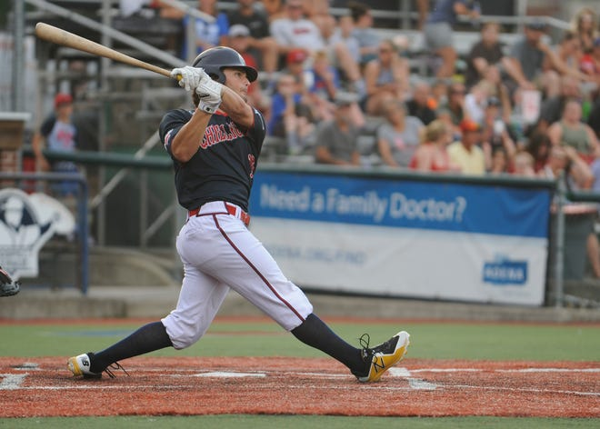 Charlie Patrick hits a ball in a 4-1 win over the West Virginia Miners on July 2. The Paints split two games with the Miners on Thursday on the road.