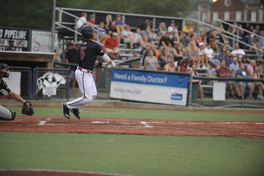 Cole Andrews hits a home run in a 4-1 win over West Virginia on July 2. Andrews had a big year in his freshman season at Miami, now that success is carrying over to his summer with the Chillicothe Paints.
