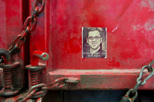 A sticker depicting Pete McCreary in Sharonville, Ohio, on Tuesday, July 2, 2019. McCreary was the founder of Junk King, but passed away last year due to a motorcycle accident. The stickers can be found on the back of many of the Junk King trucks.