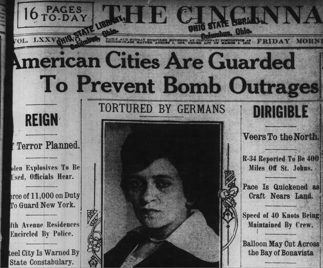 In 1919, the entire country was prepared for anarchist attacks on July 4. This image shows the July 4, 1919 edition of The Enquirer.