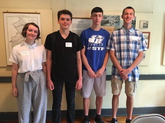 Four of the South Hunterdon Regional High School Students who participated in the Dialogue About History program visited the James Wilson Marshall House (from left): Storey Baldwin, Patrick Artur, Amos Marley and Ethan Sirak.