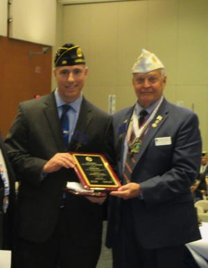 """(Left to right)Ed Graf is presented The American Legion, Department of New Jersey's 2019 """"Educator of the Year"""" Award by American Legion State Commander Raymond A. Miller at a ceremony in Wildwoodon Thursday, June 13."""
