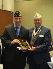 "(Left to right):  Ed Graf is presented The American Legion, Department of New Jersey's 2019 ""Educator of the Year"" Award by American Legion State Commander Raymond A. Miller at a ceremony in Wildwood, on Thursday, June 13."