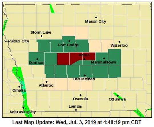 Meteorologists warned that heavy rain could cause flash flooding in central Iowa on Wednesday, July 3, 2019.