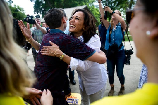 U.S. Sen. Kamala Harris, D-Calif., hugs Keaton Tench, 15 of West Des Moines, as she arrives at the West Des Moines Democrats summer picnic on Wednesday, July 3, 2019, at Legion Park in West Des Moines.