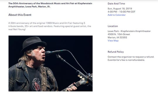 A screenshot of the Eventbrite page from the Midwest Woodstock Music event.
