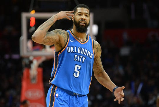Thunder forward Markieff Morris reacts after scoring a basket against the Clippers on March 8, 2019 in Los Angeles.