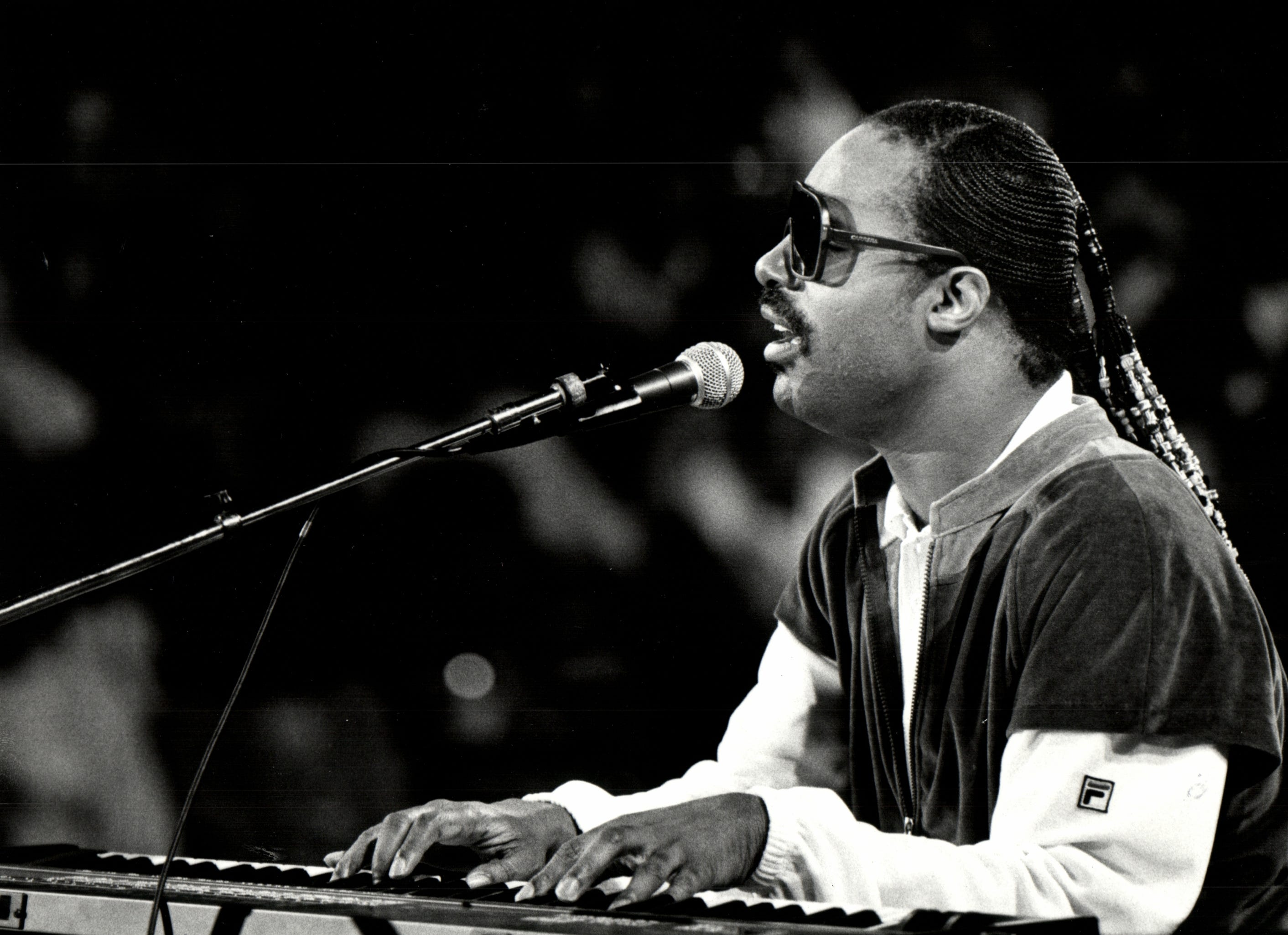 Stevie Wonder performs in Detroit on April 13, 1984.