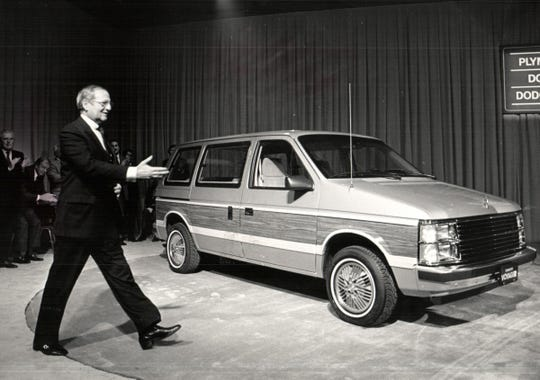 In November 1983, Lee A. Iacocca, then chairman of Chrysler Corp., introduced the company's new  front-wheel-drive family wagons and vans, including the Plymouth Voyager (pictured here), Dodge Caravan and Dodge Mini Ram Van.