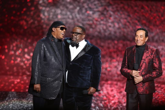 Stevie Wonder, left, and Cedric the Entertainer speak onstage during Motown 60: A GRAMMY Celebration at Microsoft Theater on February 12, 2019 in Los Angeles, California.