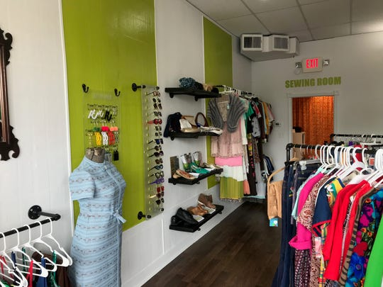 Hook & Eye Alternations and Vintage in Ferndale is full of bright vintage clothes.