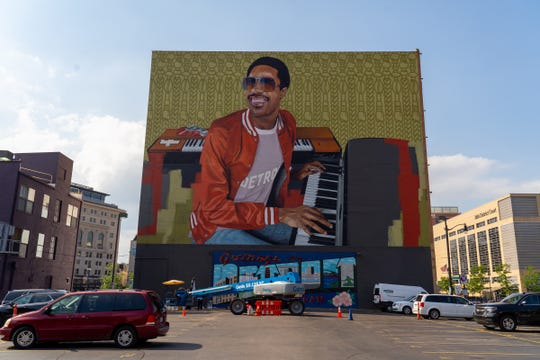 A mural of Motown artist Stevie Wonder on the rear of Music Hall in Detroit is seen on Wednesday, July 3, 2019.
