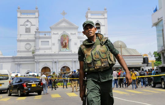 Sri Lankan Army soldiers secure the area around St. Anthony's Shrine after a blast in Colombo, Sri Lanka on April 21, 2019.