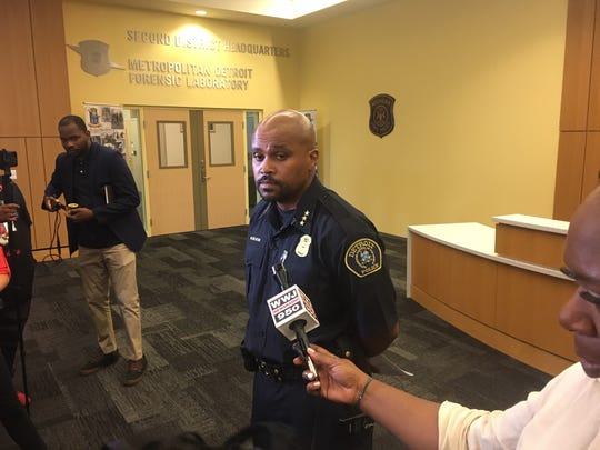 Detroit police deputy chief Marlon Wilson addresses the media Wednesday over efforts to identify unknown homicide victims during a press conference at Public Safety Headquarters.