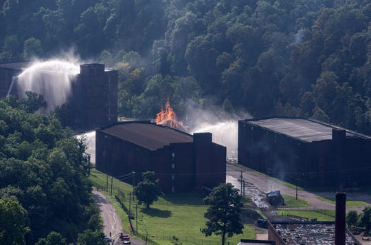 Flames and smoke rise from a  bourbon warehouse fire at a Jim Beam distillery in Woodford County, Ky., Wednesday, July 3, 2019.