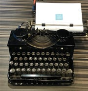 A vintage typewriter on display for use at the American Writers Museum in Chicago.
