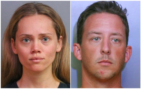 This combination of booking photos provided by the Polk County Sheriff's Office shows Courtney Irby on June 15, 2019, and her husband Joseph Irby on June 14. A Florida lawmaker and others are asking a State Attorney not to prosecute Courtney Irby who was arrested while giving her husband's guns to police after he was charged with trying to run her over.