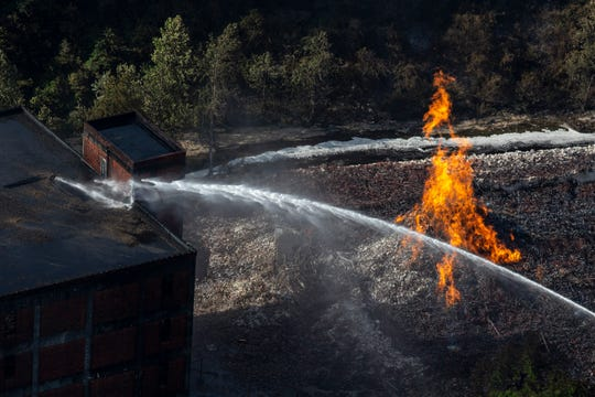 Firefighters from four counties responded to the blaze that erupted late Tuesday.