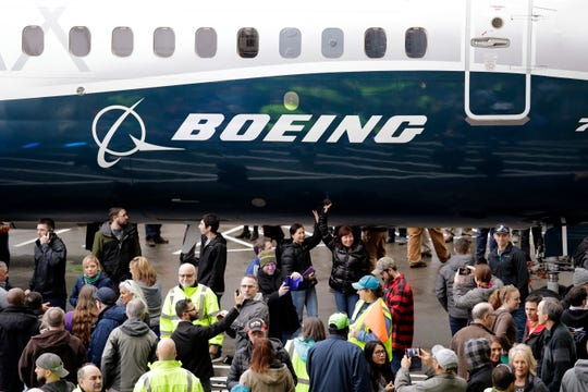 A Boeing 737 MAX 7 is displayed in Renton, Wash.