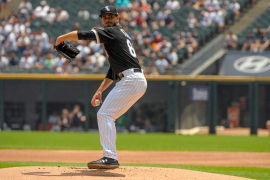 The Chicago White Sox's Dylan Cease delivers in the first inning Wednesday.