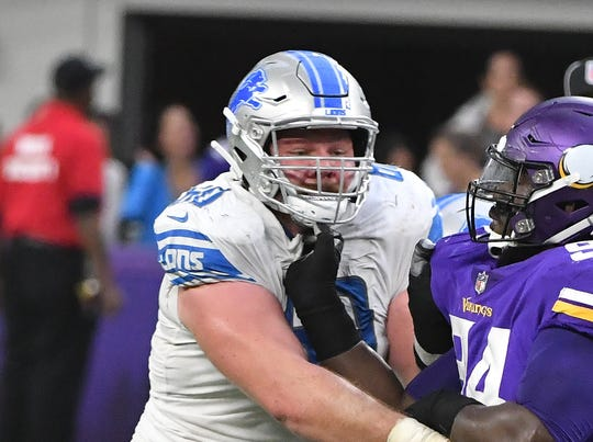 Offensive lineman Graham Glasgow will miss his first game since his rookie season in 2016.