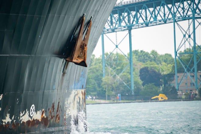 An anchor on the McKeil Marine Evans Spirit as it runs down the Detroit River, in Detroit, July 3, 2019.