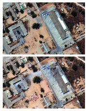 This satellite images provided by Maxar Technologies on Wednesday, July 3. 2019 show before, top, and after an airstrike hit a migrant detention facility in Tripoli, Libya.