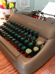 A working Smith-Corona typewriter from the 1950s, for sale at the Gramercy Typewriter Co. in New York.