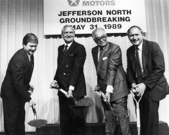 Left to right, Gov. James Blanchard, Chrysler Chairman Lee Iacocca, Detroit Mayor Coleman Young and U.S. Senator Carl Levin break ground for the new Chrysler Jefferson North Assembly plant at Kercheval and Conner. May 31, 1989.