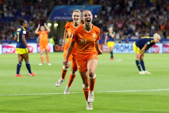 Netherlands' Jackie Groenen celebrates after scoring the lone goal in Wednesday's Women's World Cup semifinal match against Sweden.