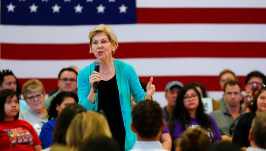 Democratic presidential candidate Sen. Elizabeth Warren speaks at a campaign event, Tuesday, July 2, 2019, in Las Vegas. Warren, who rose to national prominence by calling for tough regulation after the financial crisis, is winning respect from a small but growing circle of senior bankers and hedge fund managers.
