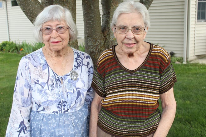 Betty Hood, 88, left, and Juanita Billow, 89, have been pen pals for 73 years. Hood traveled from Australia to visit Billow this week in Fremont. It is Hood's second trip to the United States to see her pen pal.