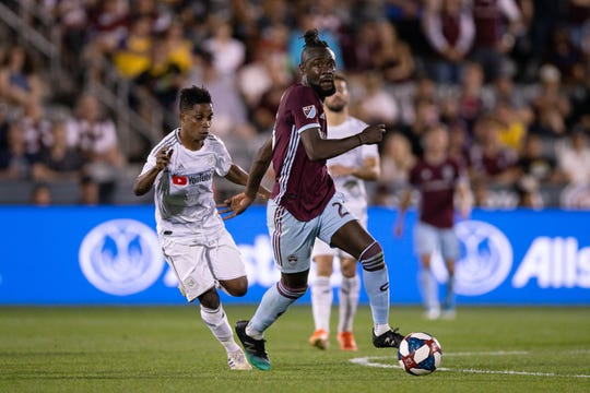 Colorado Rapids forward Kei Kamara moves the ball downfield ahead of Los Angeles FC's Latif Blessing during a June 28 game. The Rapids will play a home game at 7 p.m. Thursday, followed by a fireworks show, at Dicks Sporting Goods Park in Commerce City.