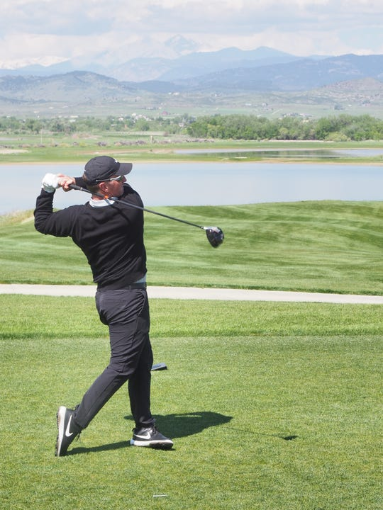 David Duval, the world's top-ranked golfer in 1998 and winner of the 2001 British Open, follows through after hitting his tee shot on the first hole at TPC Colorado on May 30. Duval is foregoing additional practice rounds for this year's British Open to compete this week in the inaugural TPC Colorado Championship, a Korn Ferry Tour event, at TPC Colorado in Berthoud.