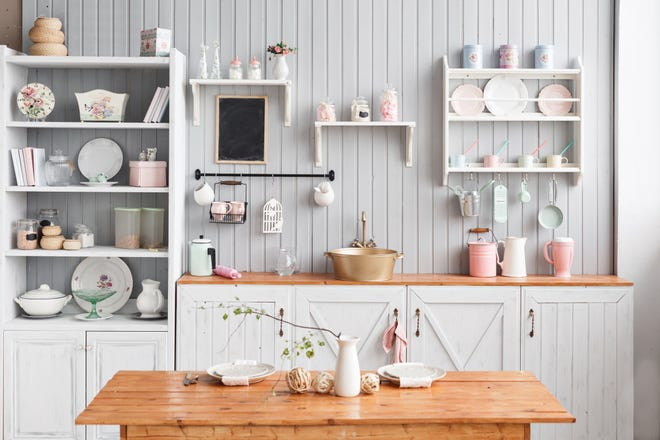 Using open shelving, patterns to draw the eye up and light color palettes will make small spaces feel bigger and more open.