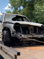 The front of the Jeep Liberty that Joelle and Sevyn Shock were driving became damaged after it burst into flames.
