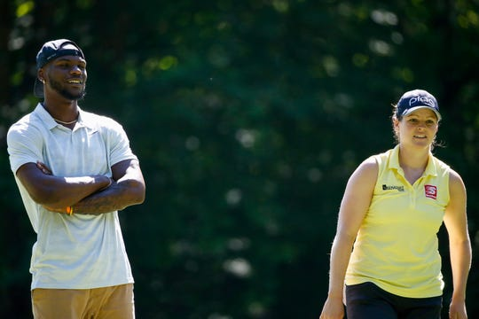 Packers receiver Marquez Valdes-Scantling and LPGA golfer Ally McDonald watch the action during the Thornberry Creek LPGA Classic Pro-Am on Wednesday.