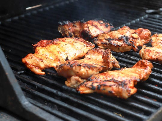 Chicken thighs on the grill