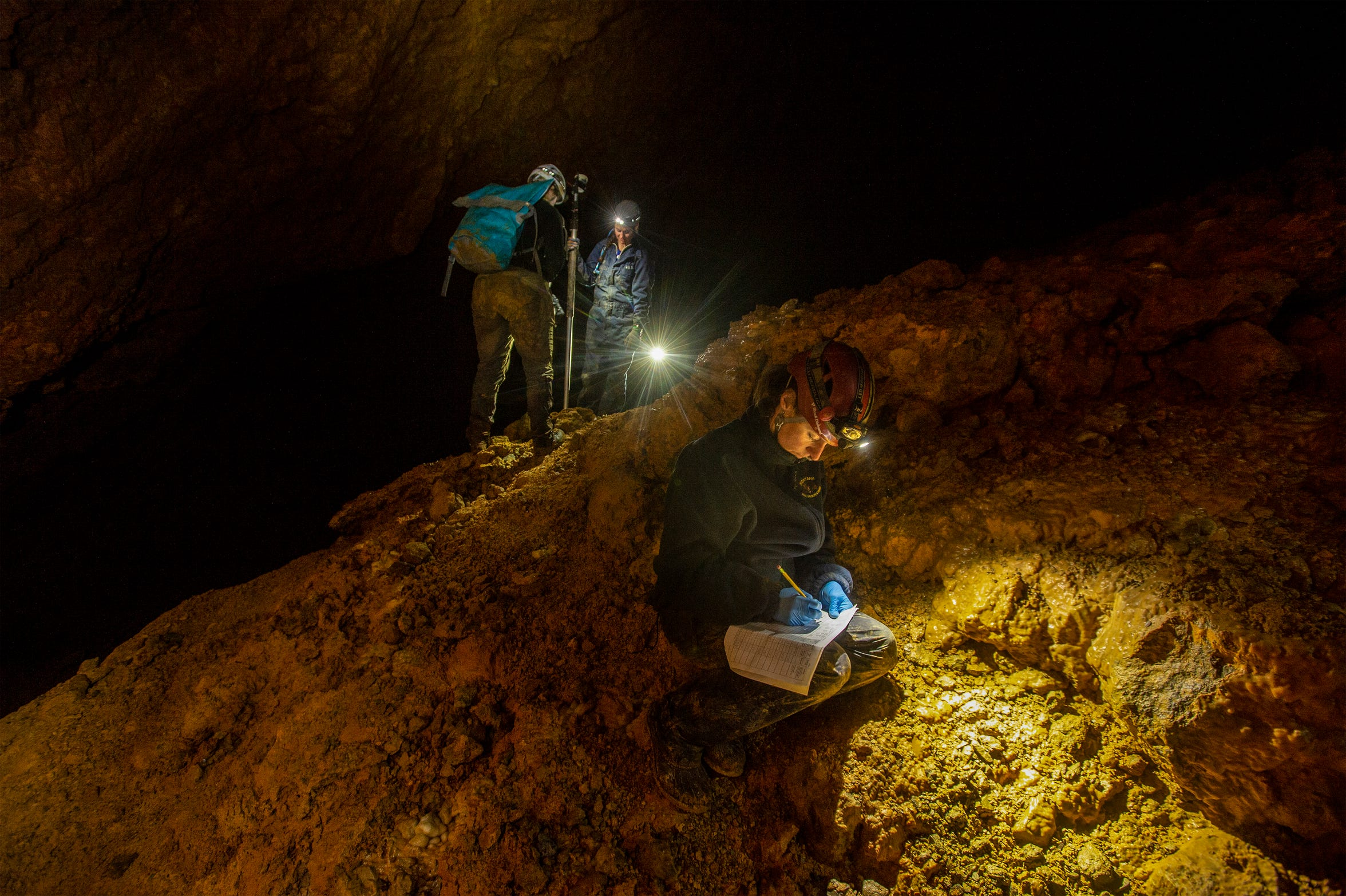 Lauri Hanauska-Brown, Non-Game Wildlife Management Bureau chief for Montana Fish, Wildlife & Parks, collects soil samples from the Cathedral Room in Lick Creek Cave in the Helena-Lewis and Clark National Forest in early April.  Hanauska-Brown led a team into the cave to test the bat population for white-nose syndrome, which is caused by Pseudogymnoascus destructans, a fungus that can be fatal to bats.