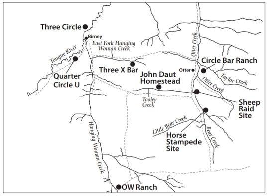 A map shows where the Kendrick Sheep Raid happened, near the Montana-Wyoming border.