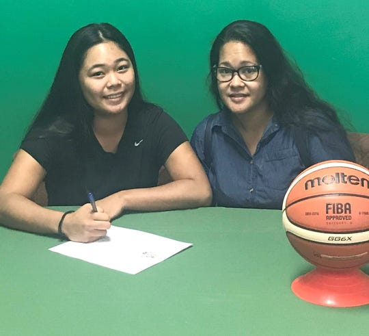 Danica Cabrera, left, has signed to play basketball for the University of Guam Lady Tritons. She's shown with her mother, Ruthie Lancen.