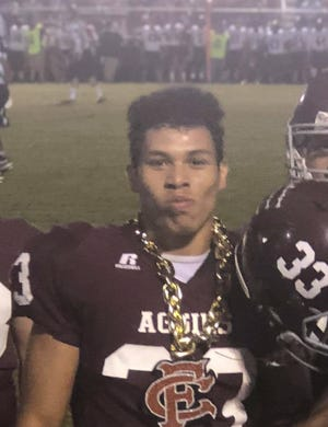 Peyton Kolb played football with the Forrest County Agricultural High School Aggies.