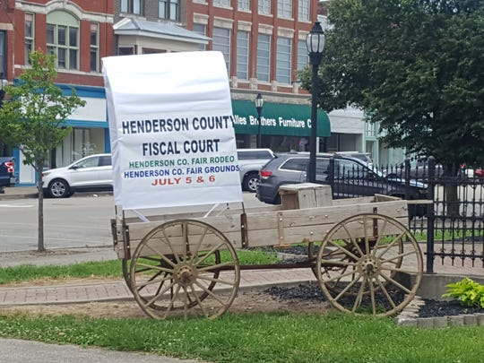Have you seen chuck wagons scattered around town? These sponsored wagons will be raced during the Henderson County Fair rodeo being held Friday and Saturday evening.