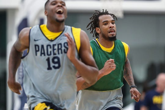 JaKeenan Gant (right) works out during Indiana Pacers rookie/free agent camp July 1 at the St. Vincent Center in Indianapolis.