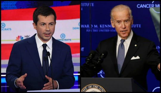 South Bend, Indiana, Mayor Pete Buttigieg, left, and former Vice President Joe Biden, right, are Democratic candidates for president in 2020.