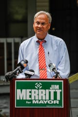Indiana Sen. and mayoral candidate Jim Merritt, shown here at a July 3 press conference.