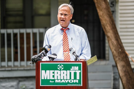 Ind. Sen. and mayoral candidate Jim Merritt holds a press conference in front an Irvington rental home recently featured in an IndyStar article critical of issues with Indianapolis Mayor Joe Hogsett's housing program, on Wednesday, July 3, 2019.