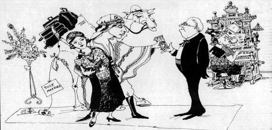 Indianapolis Star illustration of Rudoph Valentino's wedding to Winifred Shaughnessy in Crown Point, Indiana.