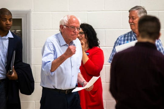 U.S. Sen. Bernie Sanders, I-Vermont, arrives before speaking during an ice cream social, Tuesday, July 2, 2019, at the Robert A. Lee Recreation Center in Iowa City, Iowa.
