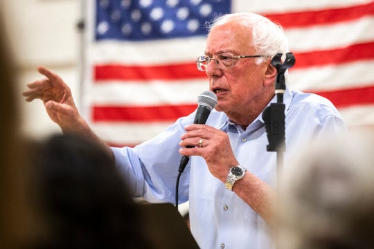 U.S. Sen. Bernie Sanders, I-Vermont, speaks to supporters during an ice cream social, Tuesday, July 2, 2019, at the Robert A. Lee Recreation Center in Iowa City, Iowa.